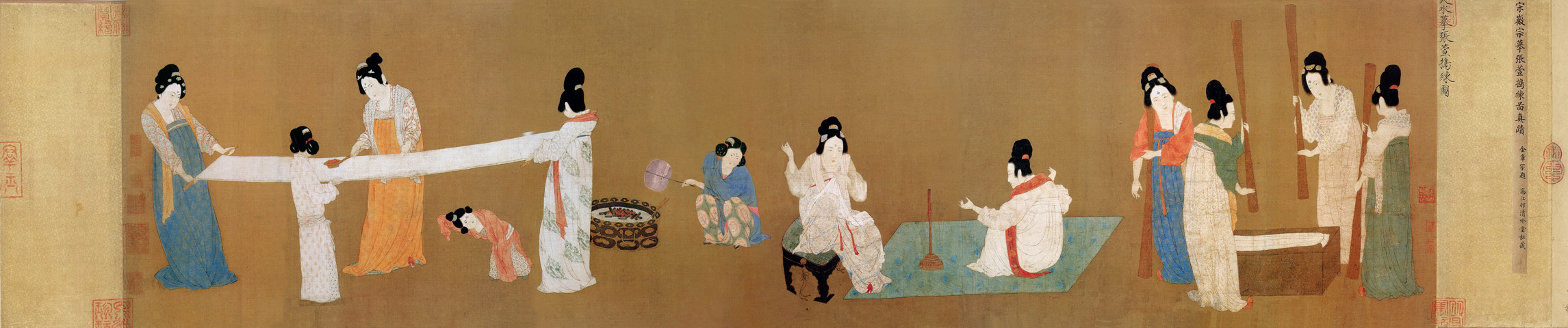 Zhang Xuan: Court Ladies Preparing Newly Woven Silk