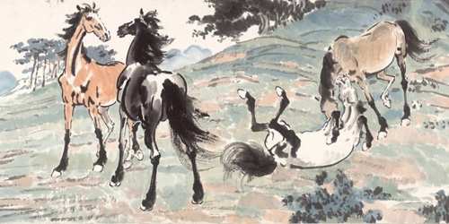 Xu Beihong: Ten Horses in Spring Mountains
